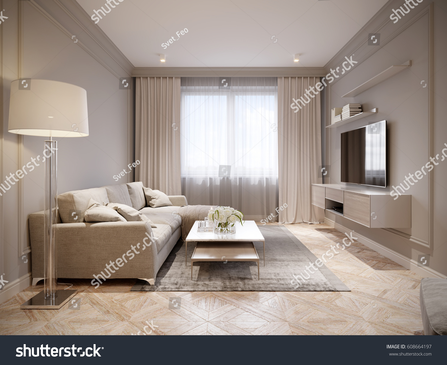 Modern Beige Gray Living Room Interior Stock Illustration 608664197