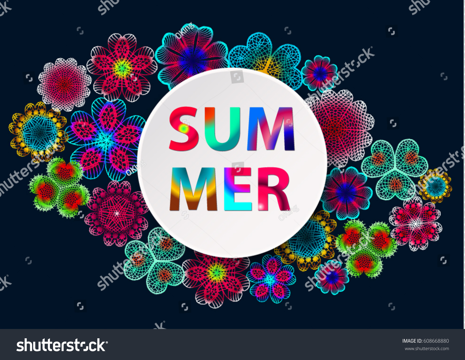 Summer Colored Lettering On Round Banner Stock Vector Royalty Free 608668880