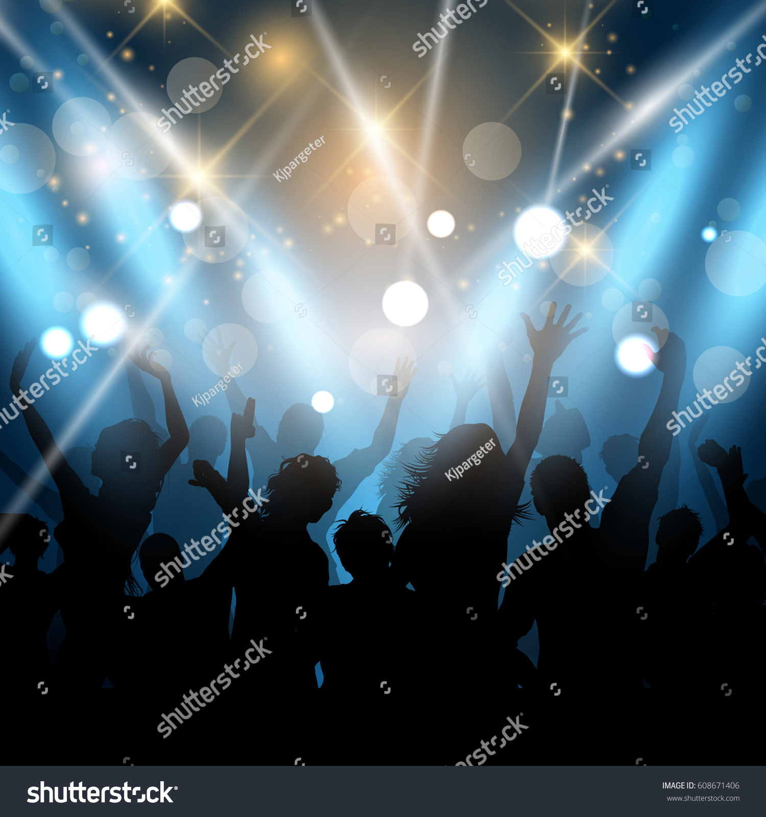 Silhouettes of party people on a spotlights background #608671406