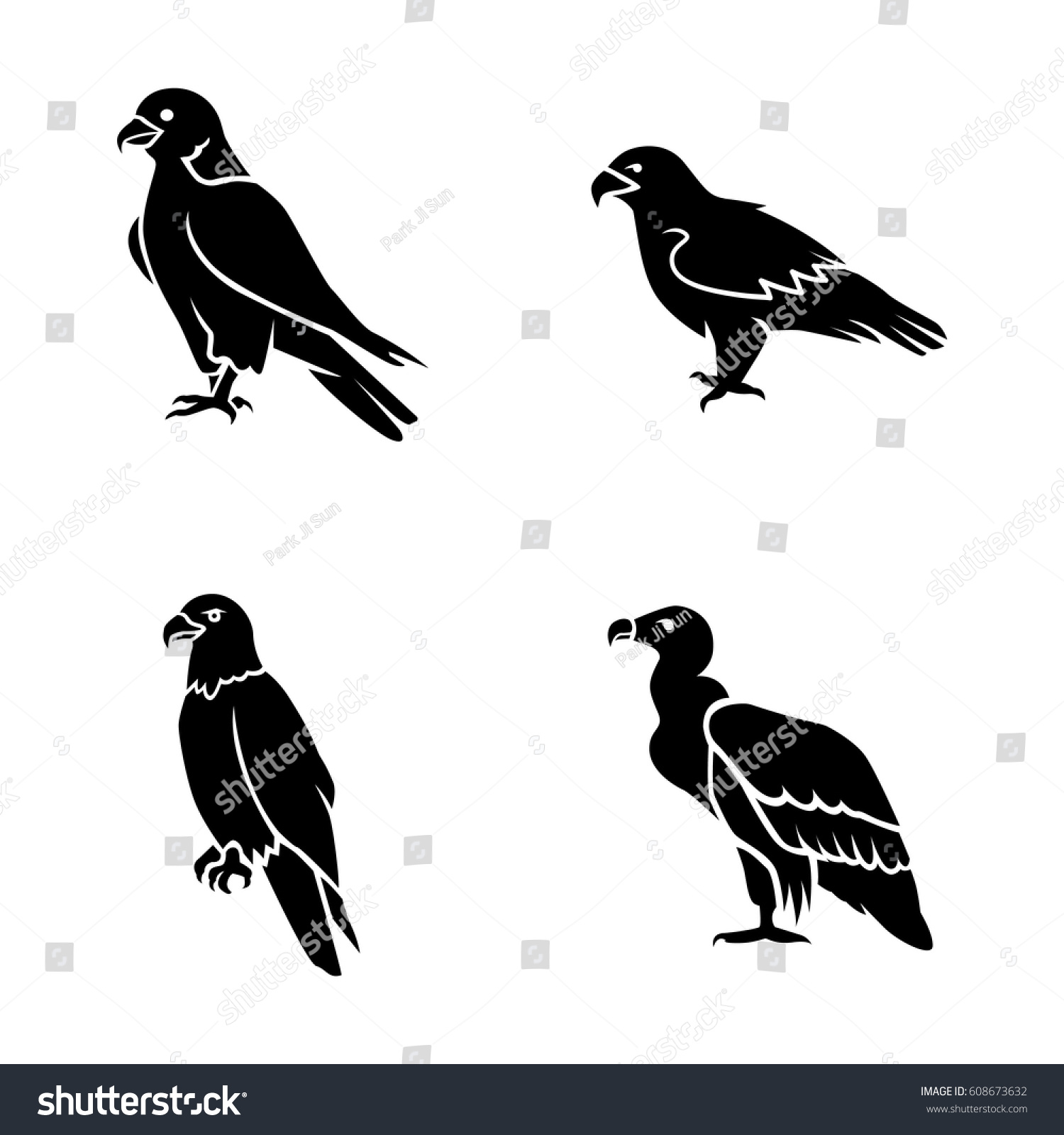 Eagles Vector Icons Stock Vector Royalty Free 608673632