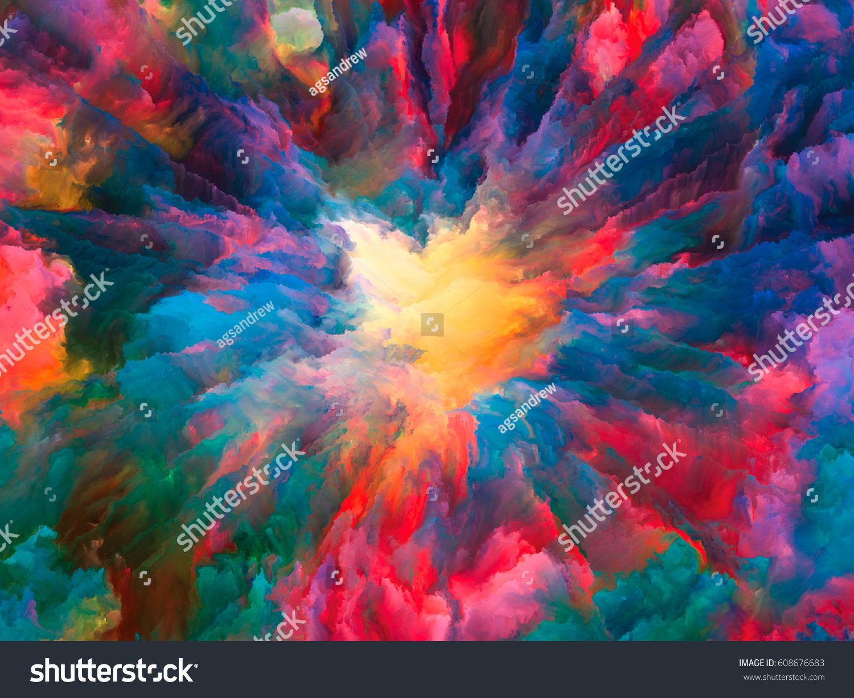 color explosion series backdrop fractal paint stock illustration