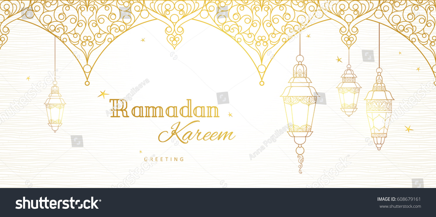 Ornate vector banner, vintage lanterns for Ramadan wishing. Arabic shining lamps. Outline golden decor in Eastern style. Islamic background.Ramadan Kareem greeting card, advertising, discount, poster. #608679161