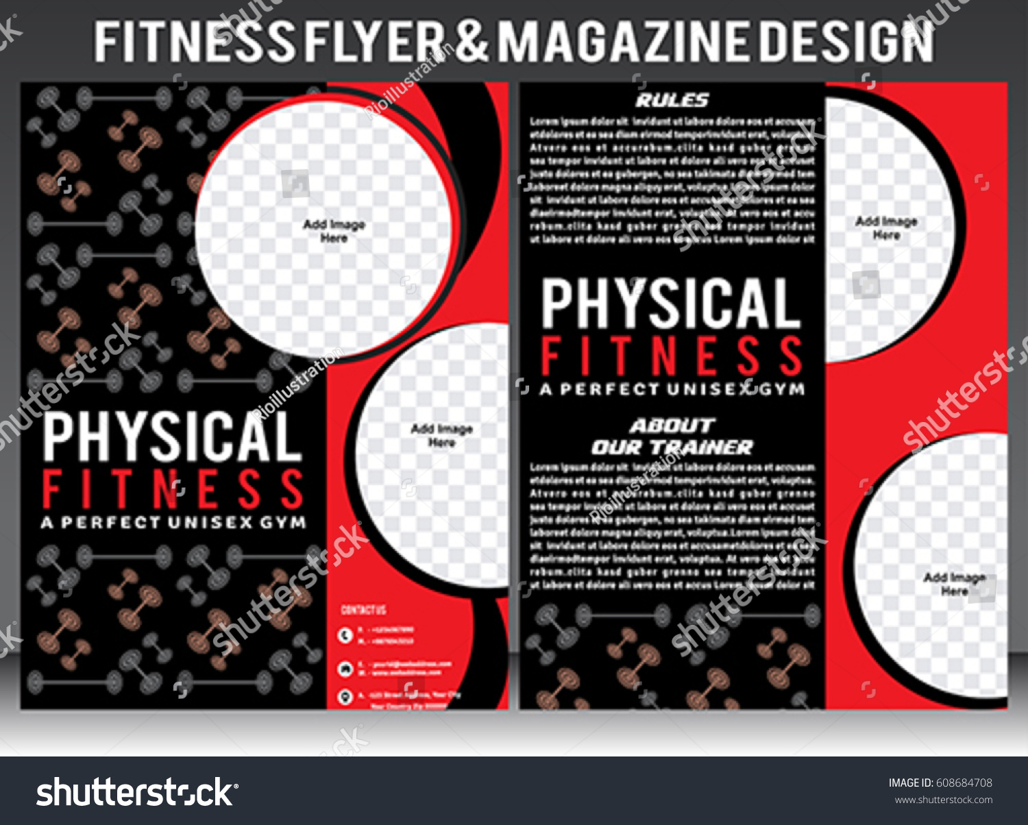 Physical Fitness Flyer Template Magazine Design Stock Vector ... for Physical Fitness Design  35fsj