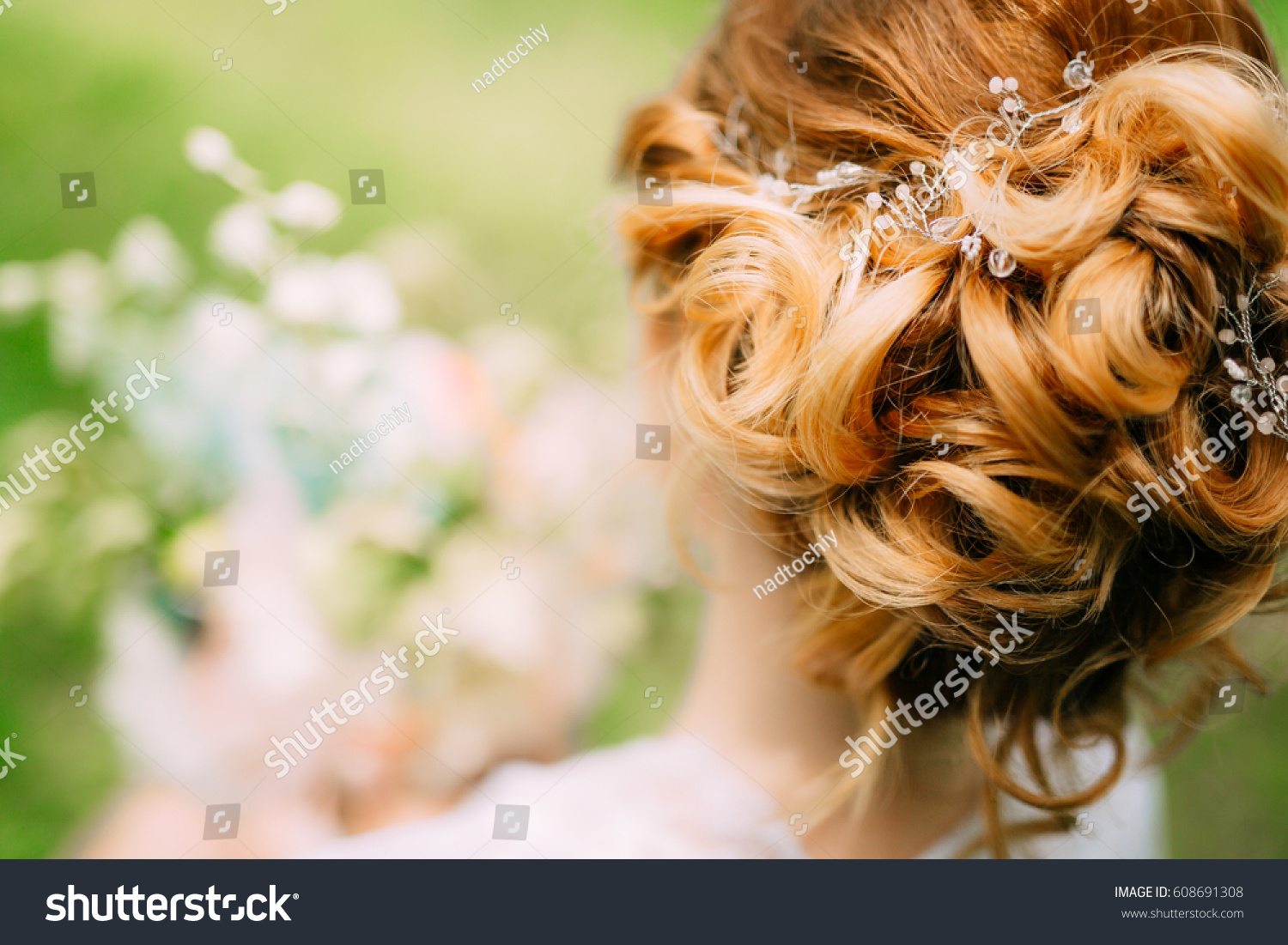 Hairstyle Bride Closeup Hairdresser Finished Making Stock Photo