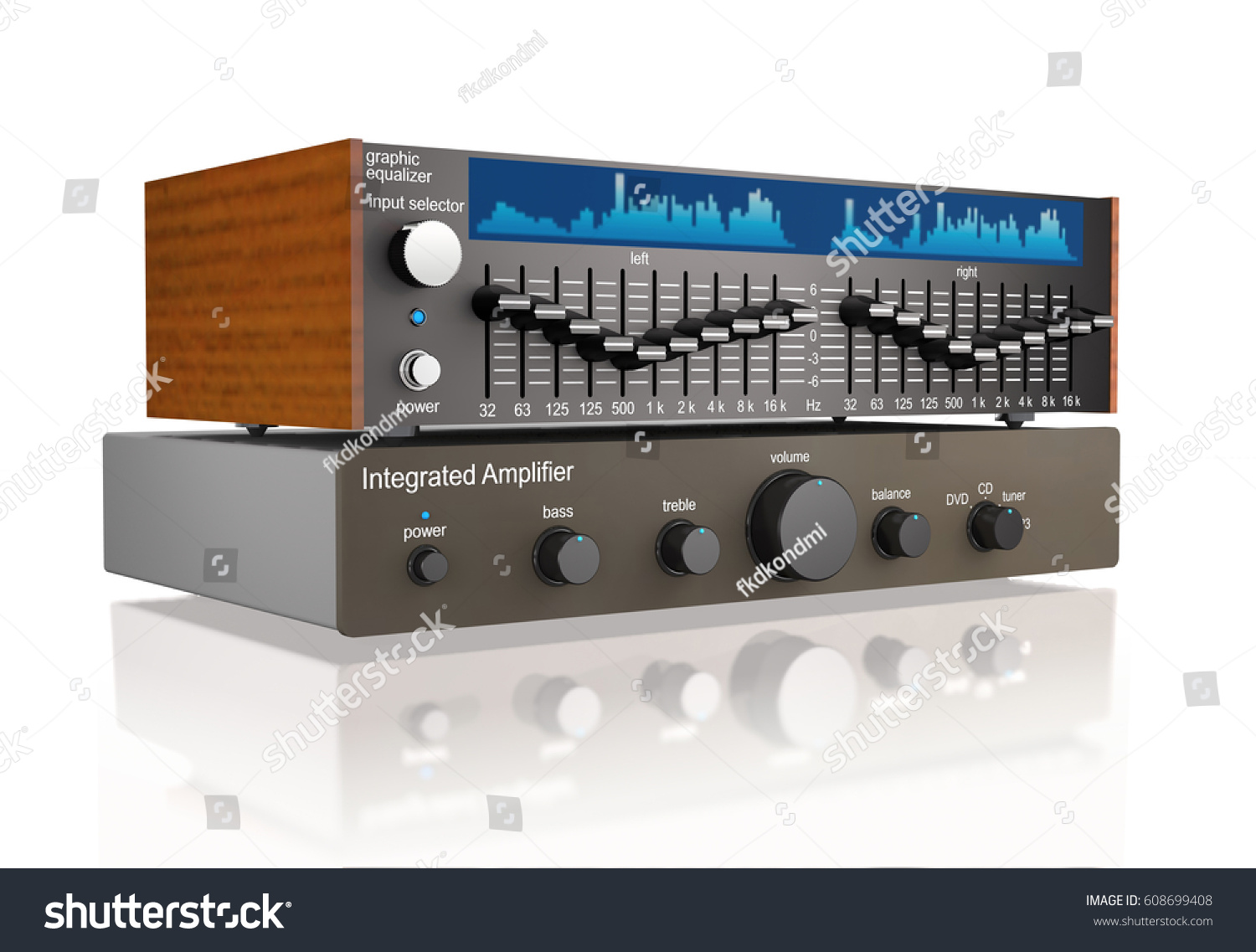Audio Integrated Power Amplifier Graphic Equalizer Stock And On White Background 3d Illustration
