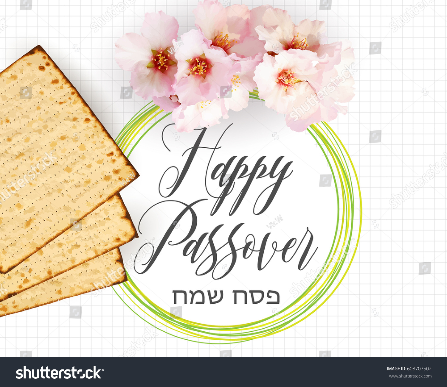 Happy passover traditional jewish holiday background stock vector happy passover traditional jewish holiday background matzah bread almond flowers and text m4hsunfo