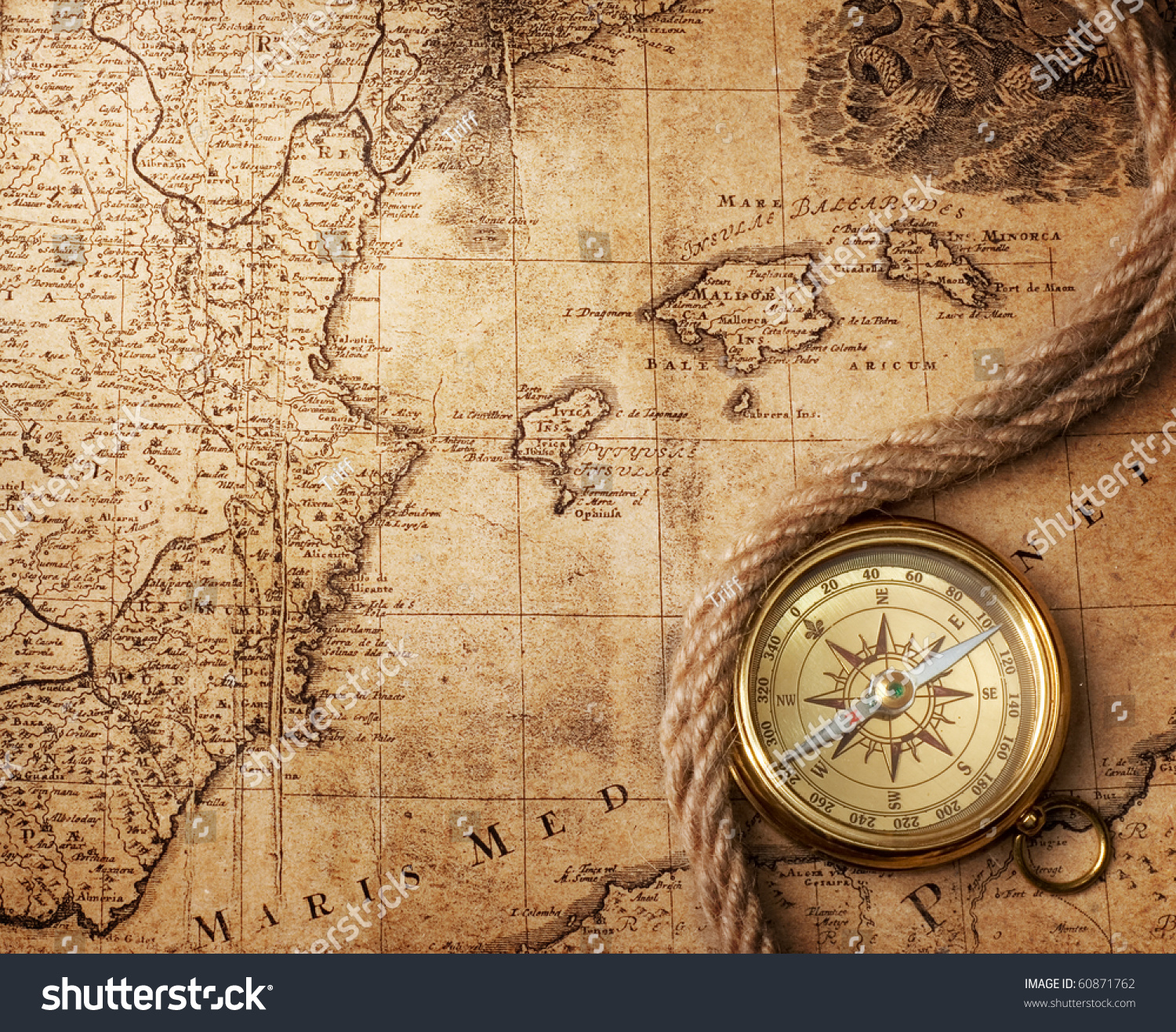 Old Compass On Vintage Map 18 Stock Photo Royalty Free 60871762