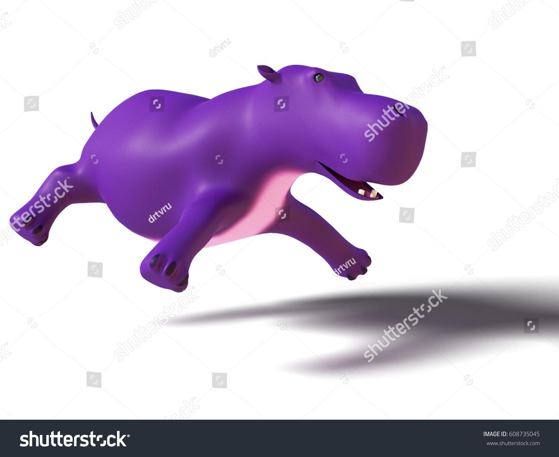 3 D Rendering Flying Purple Hippo Stock Illustration 608735045 ...