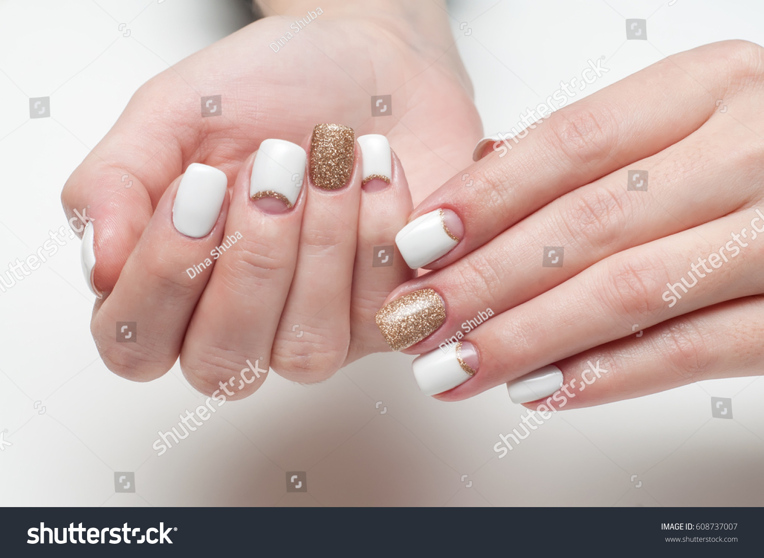 White Golden Manicure On Square Long Stock Photo 608737007 ...