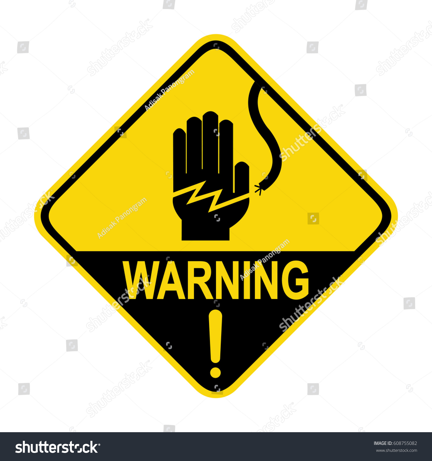 Electrical Hazard Warning Sign Symbol Illustration Stock Vector