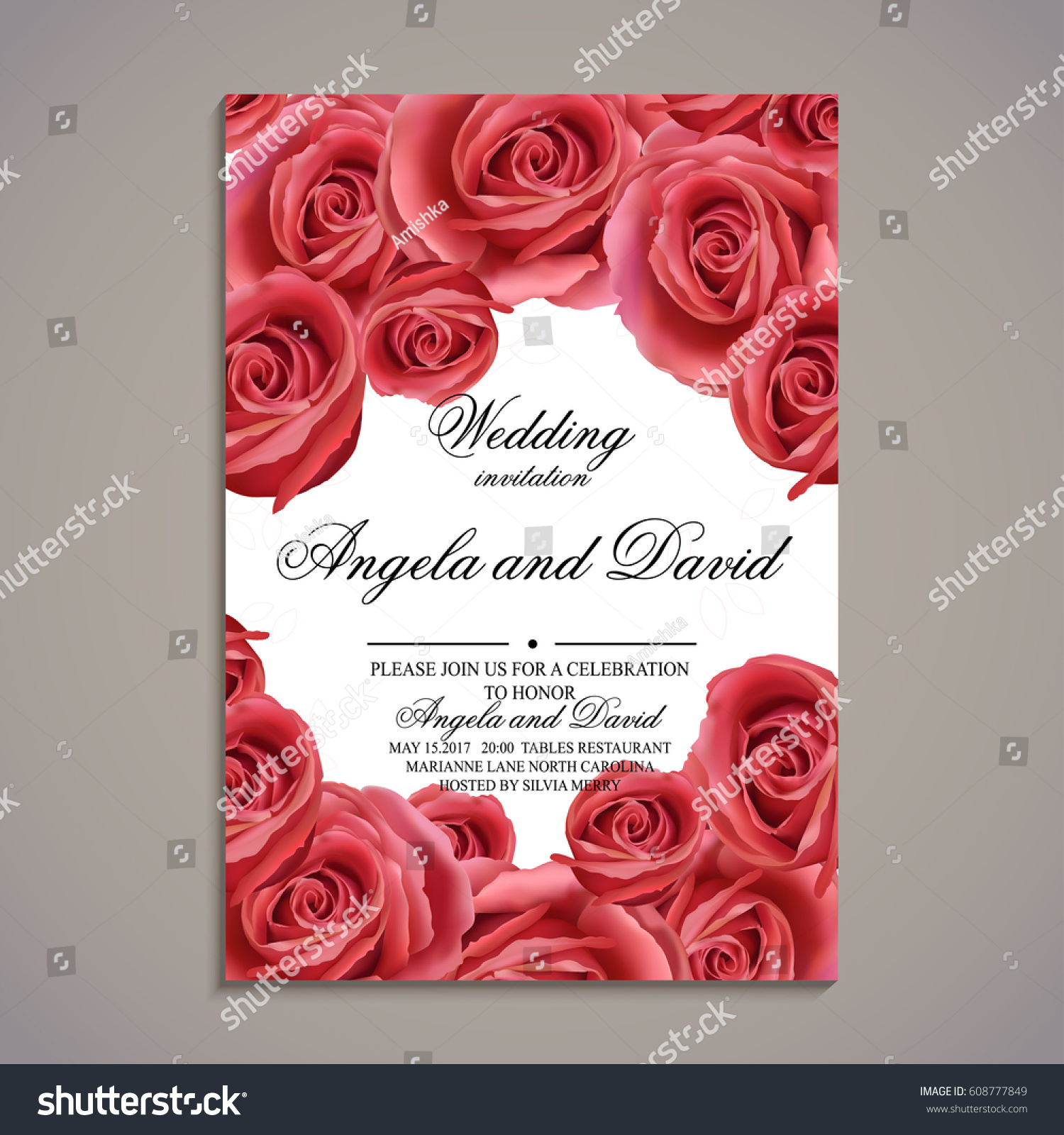 Wedding Invitation Card Rose Flowers Template Stock Vector (Royalty ...
