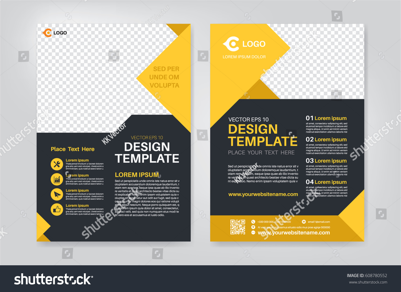 geometry yellow brochure flyer design template のベクター画像素材