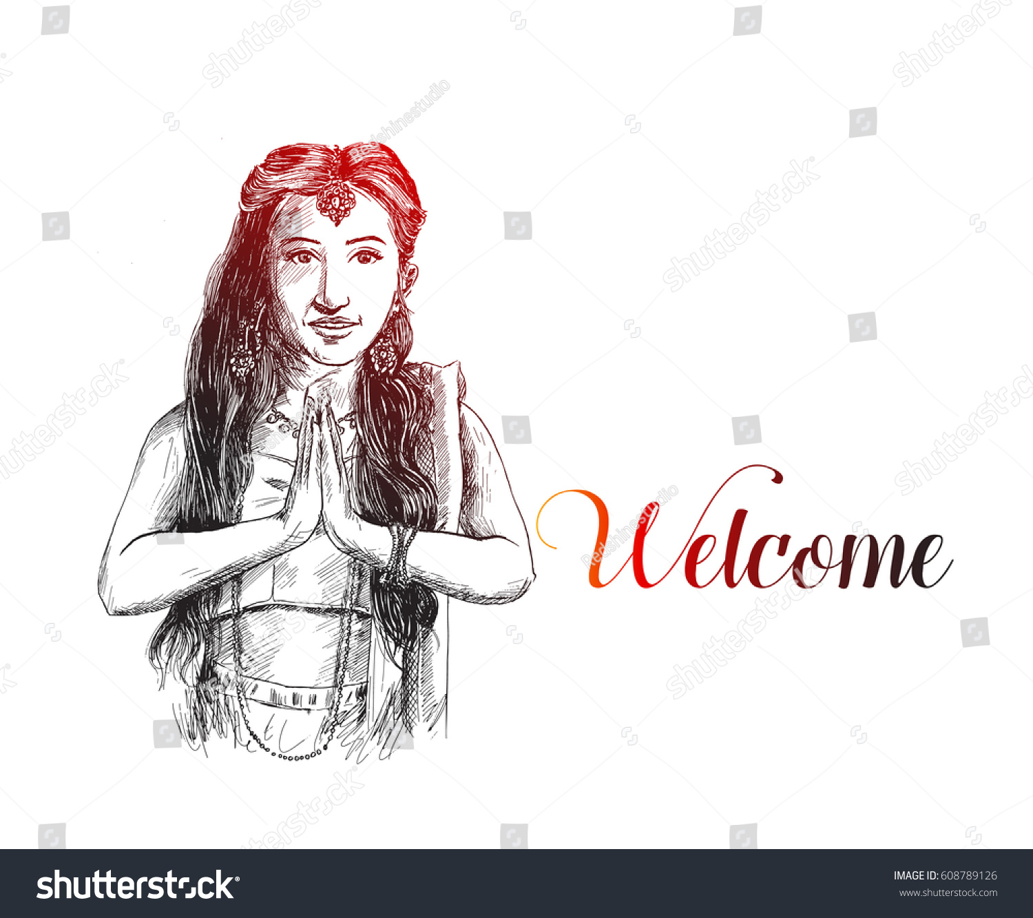 sketch indian woman holding hands prayer stock vector