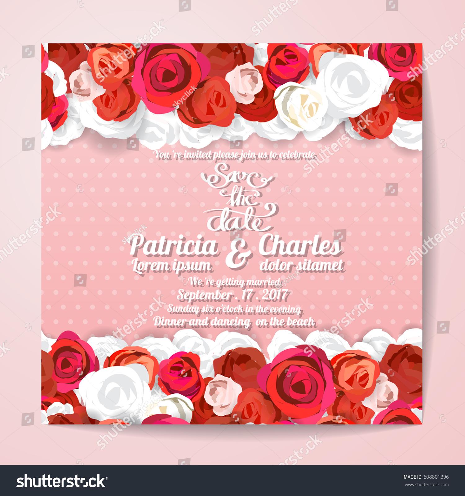 Wedding Invitation Card Templates Flower Rose Stock Vector 608801396 ...