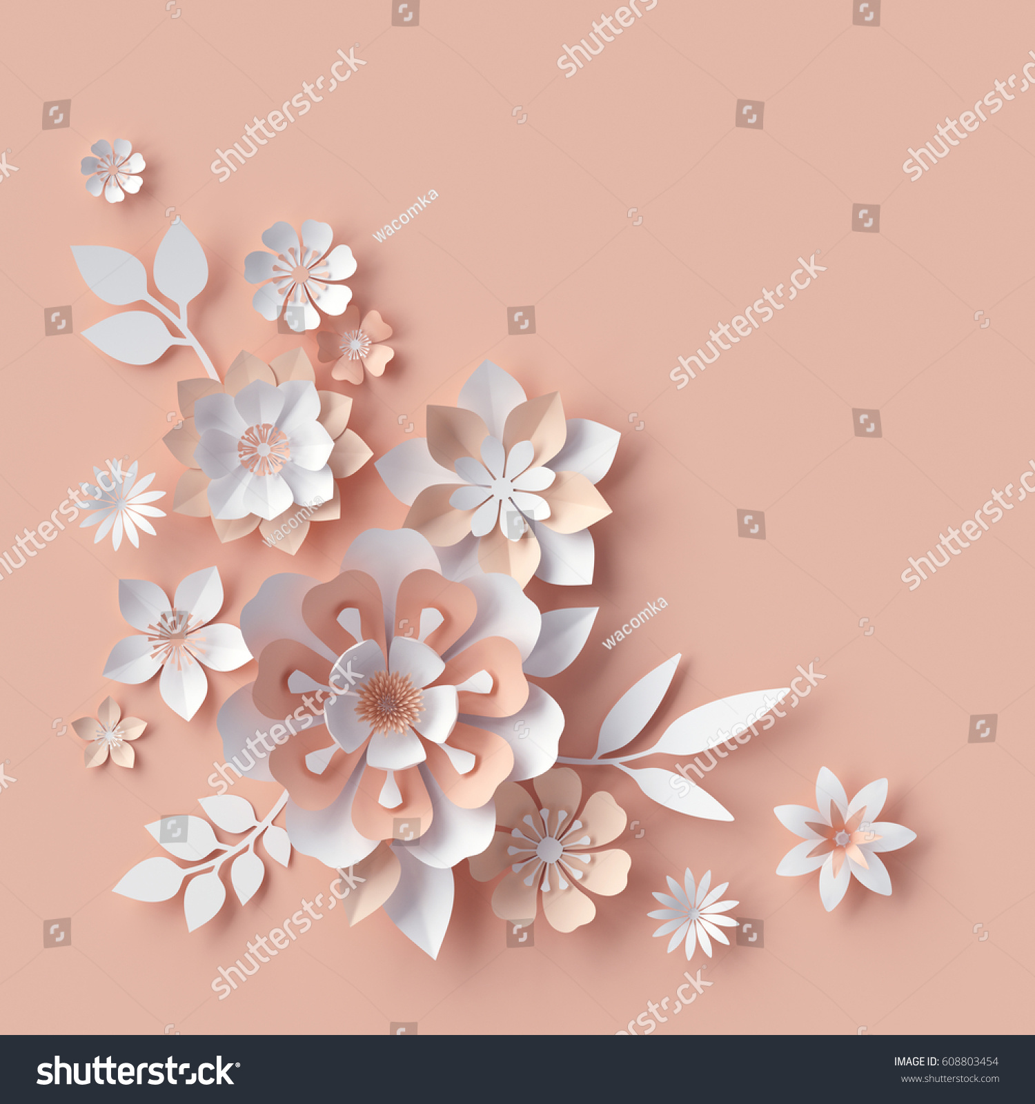 3 D Render Abstract Paper Flowers Decorative Stock Illustration