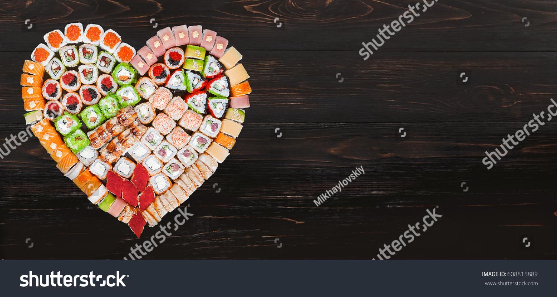 8ae50de16 Inscription I Love Sushi Set Sushi Stock Photo (Edit Now) 608815889 ...