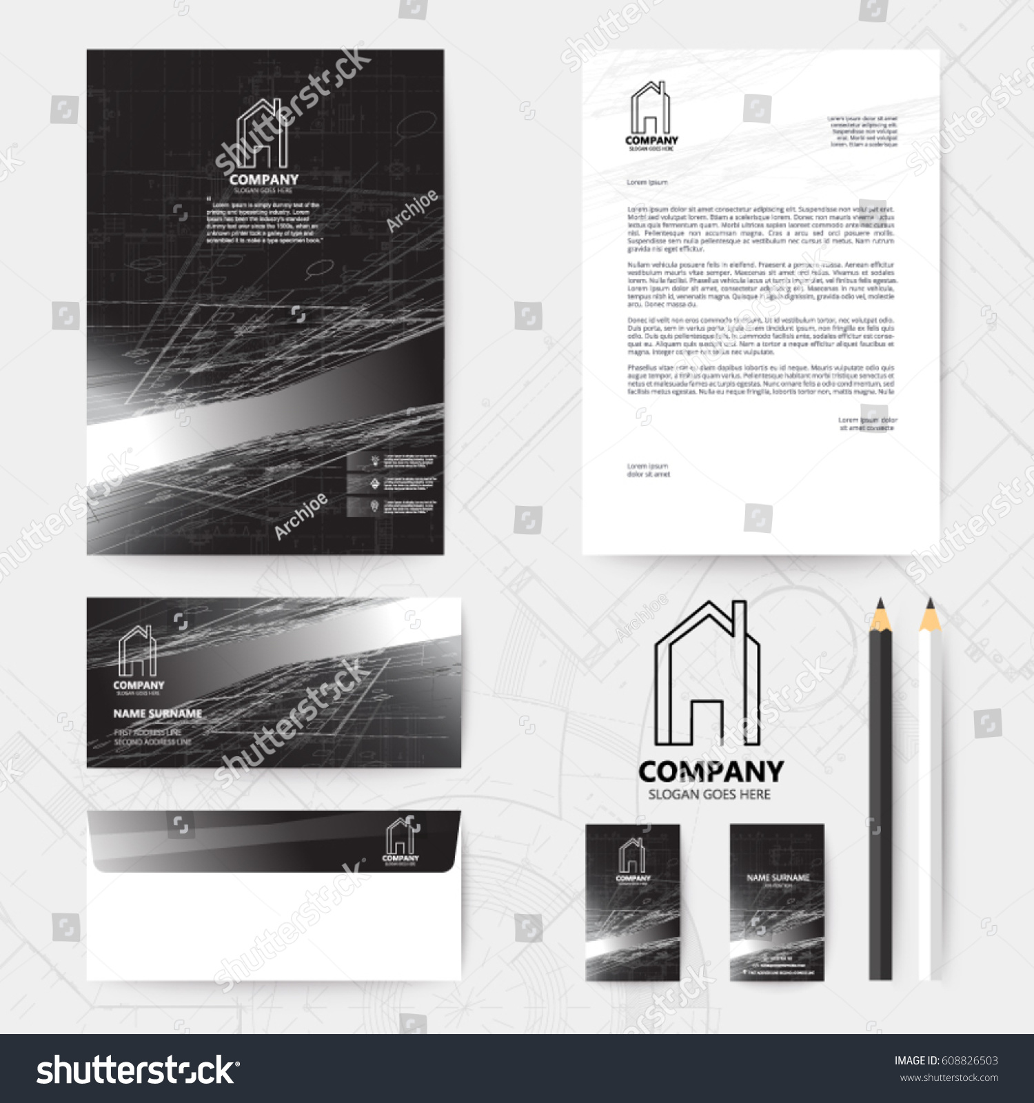 Corporate identity template design blueprint background stock vector corporate identity template design with blueprint background spacecraft vector illustration malvernweather Image collections
