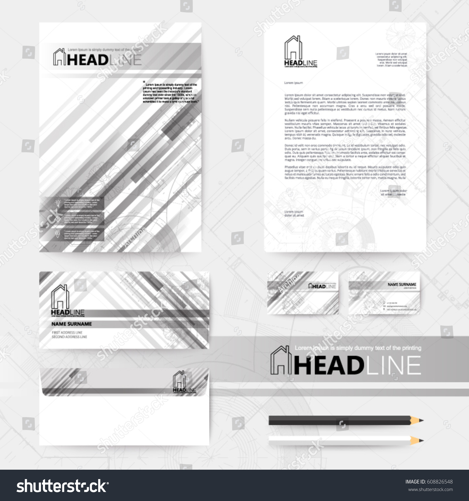 Gray straight stripes back template design stock vector 608826548 gray straight stripes back and template design with blueprint background malvernweather Image collections