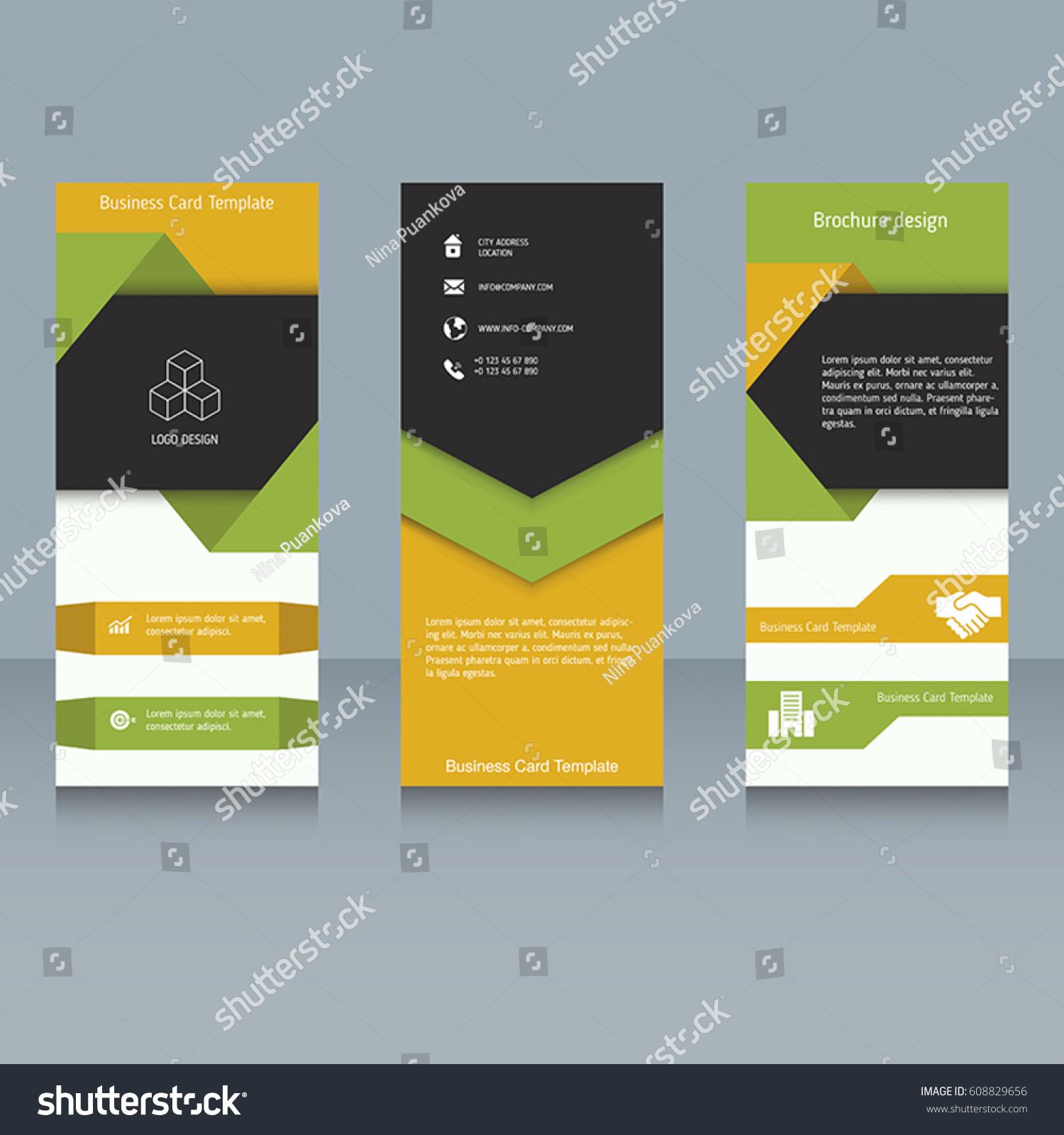 Brochure Booklet Brochure Designs Easy Adapt Stock Vector - Tri fold business card template