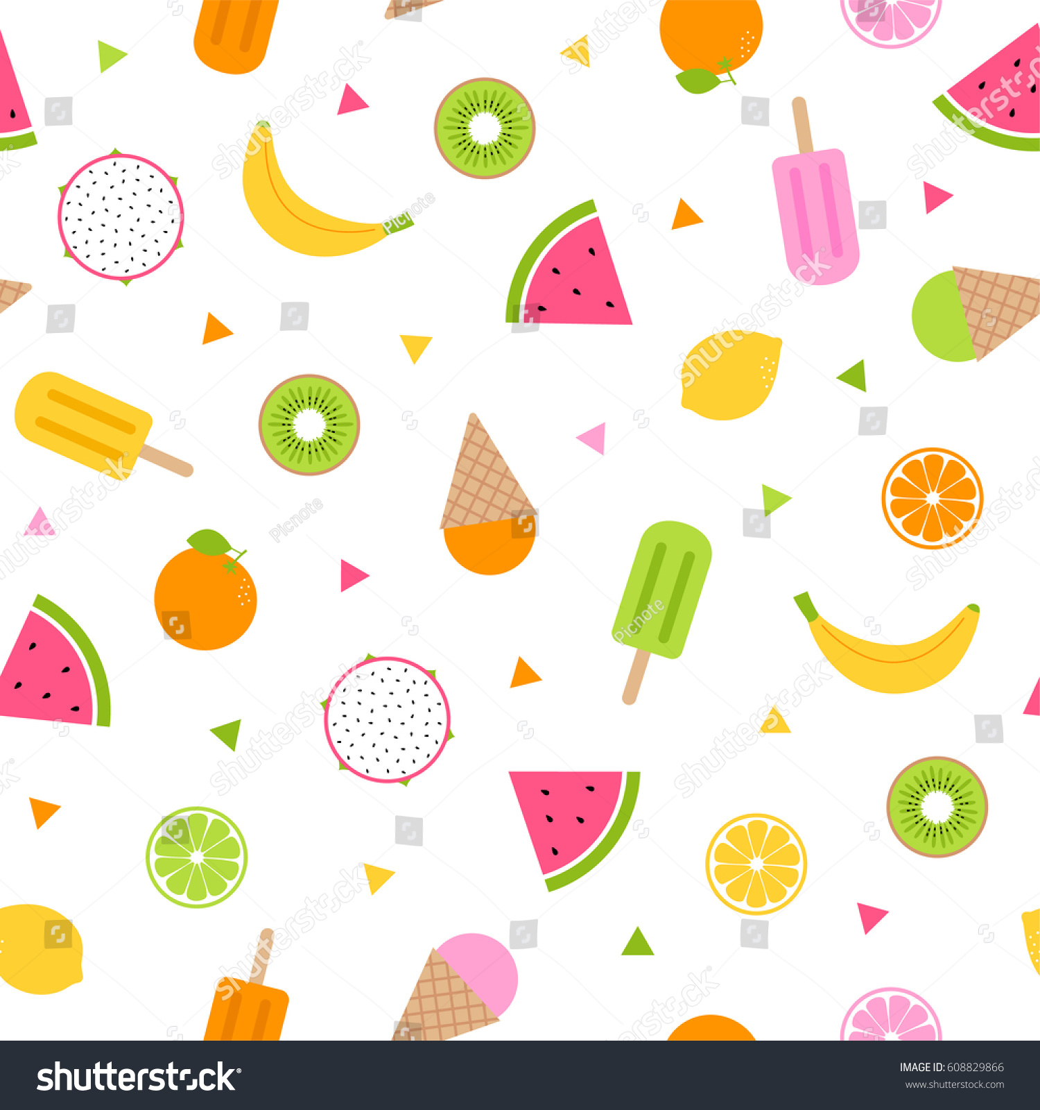 Cute Colorful Ice Cream Seamless Pattern Background: Cute Tropical Fruits Ice Cream Seamless Stock Vector