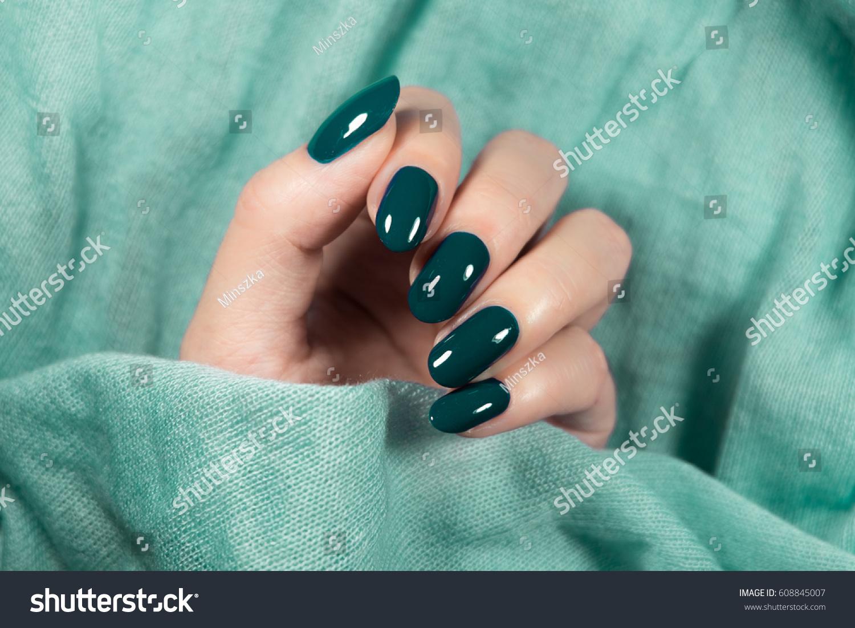 Beautiful nail polish hand green nail stock photo 608845007 beautiful nail polish in hand green nail art manicure prinsesfo Image collections