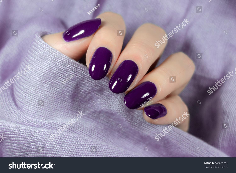 Manicured Violet Nails Nail Polish Art Stock Photo (Royalty Free ...