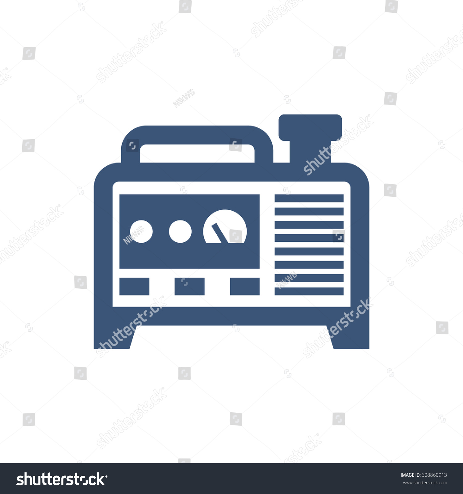 Blue Isolated Generator Vector Icon Stock Vector 608860913