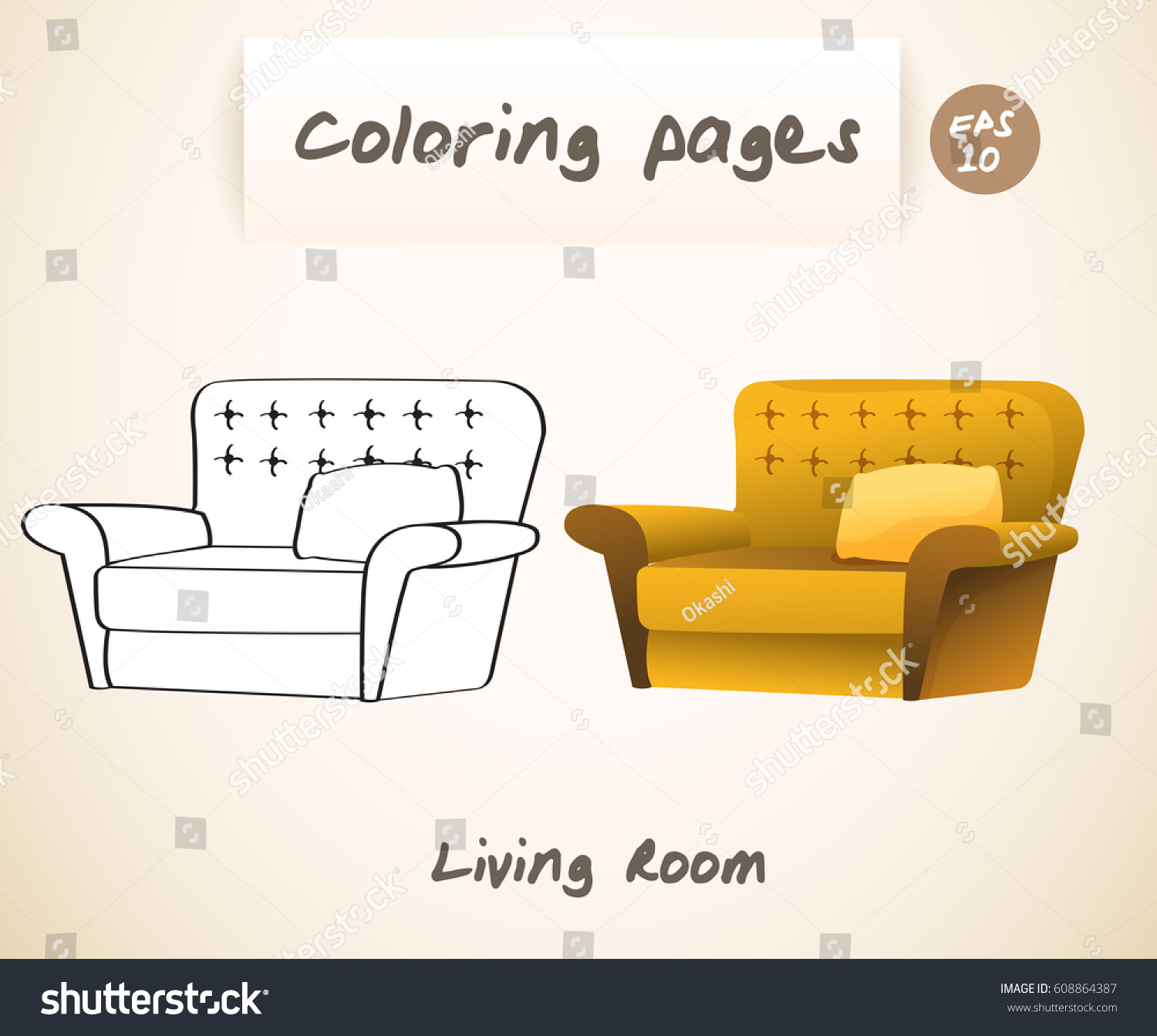 Living room coloring page - Coloring Book Pages For Kids Living Room Armchair Vector Illustration