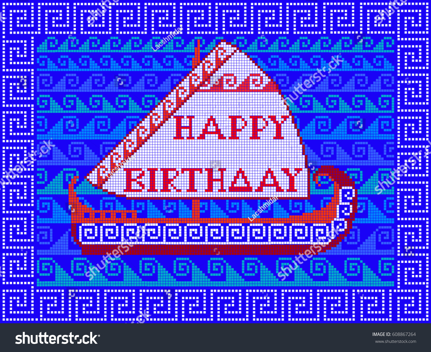 Happy Birthday Embroidered Handmade Ethnic Greeting Stock Vector