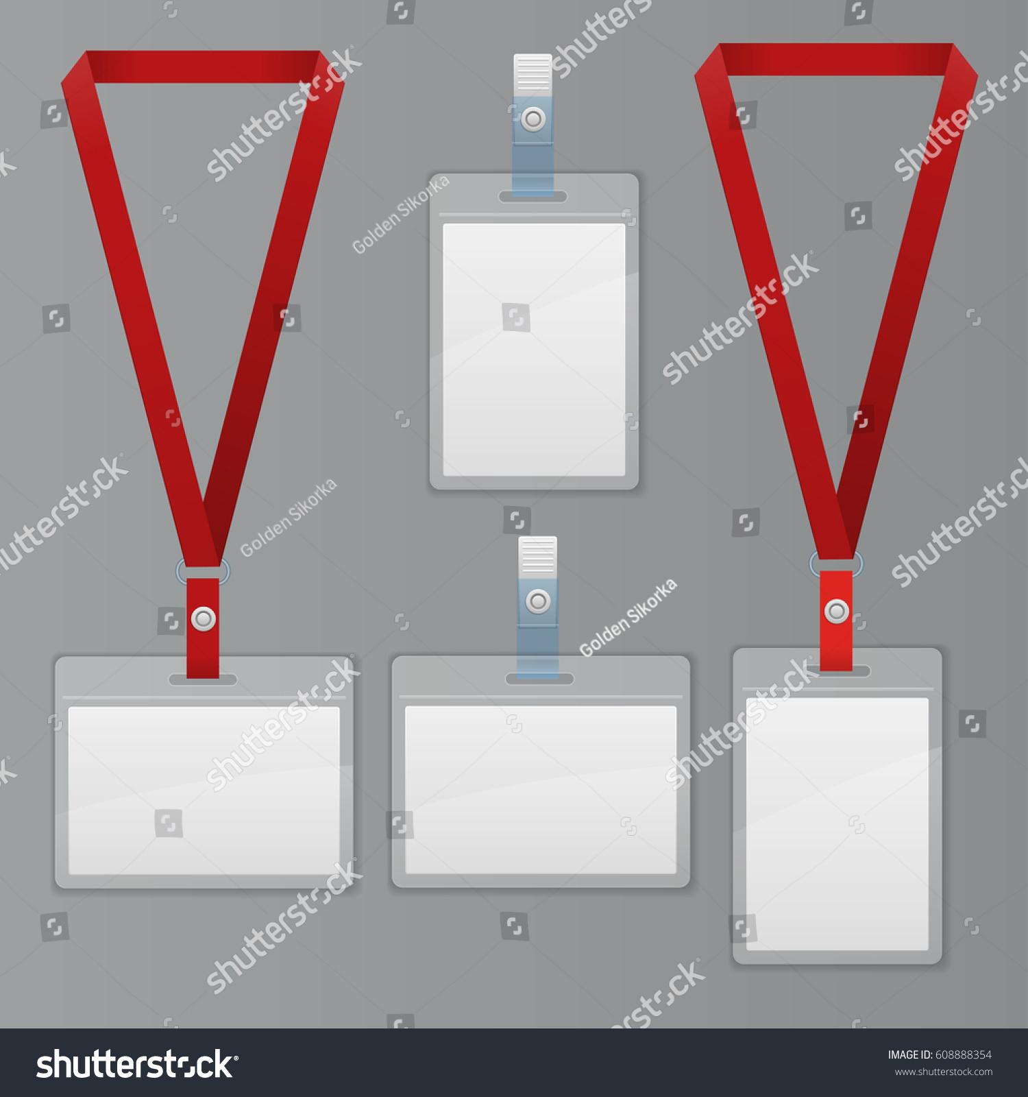 Set Lanyard Badge Template Plastic Badge Stock Illustration ...