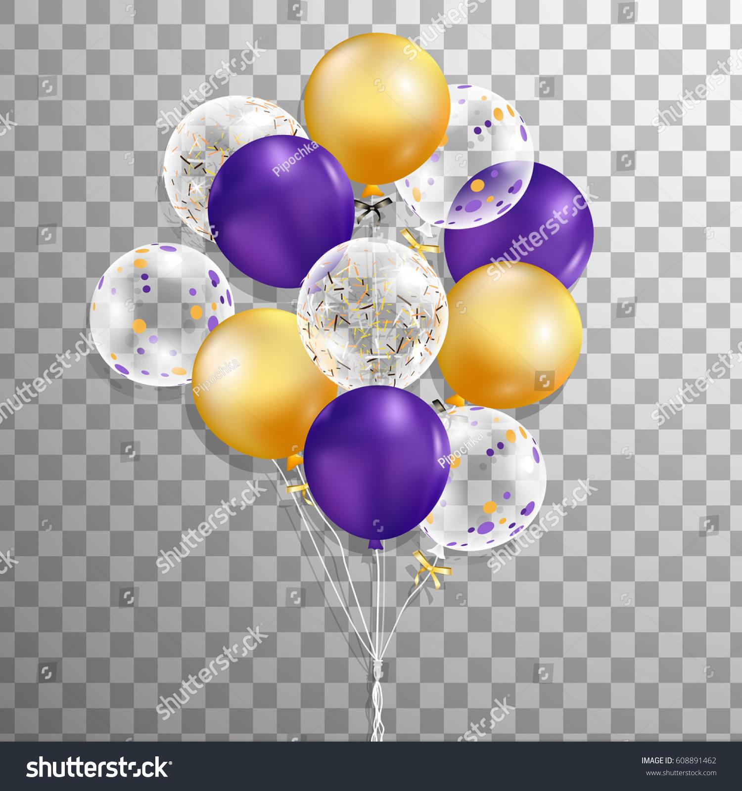 set purple gold transparent confetti helium stock vector. Black Bedroom Furniture Sets. Home Design Ideas