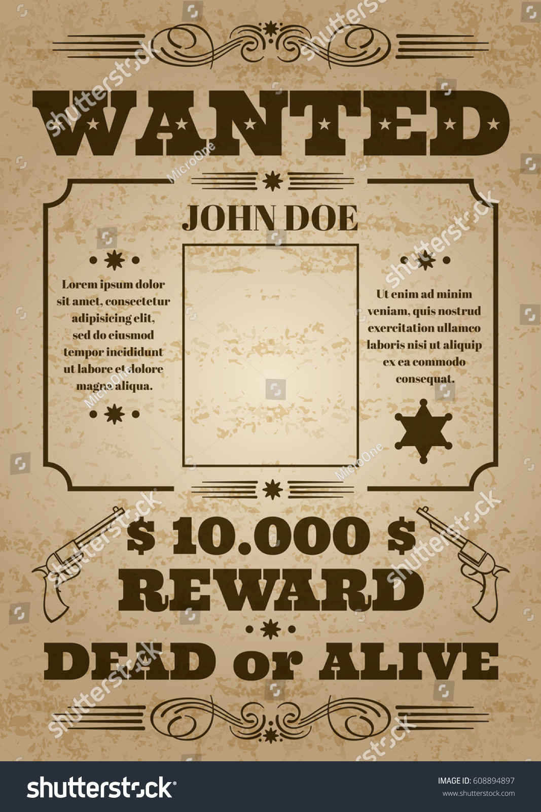 Wanted Dead Or Alive Western Old Vintage Vector Poster With Distressed  Texture. Wanted Banner Grunge