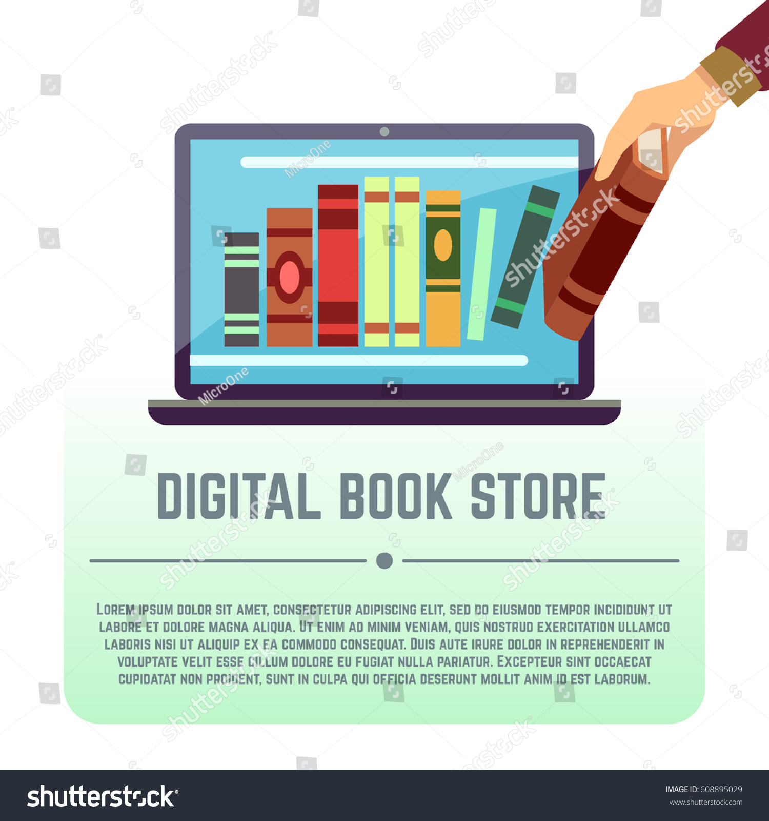 Electronic Library Online Documents Digital Book Stock Vector Wiring Car Audio Promotionshop For Promotional Store Books On Computer Screen Education