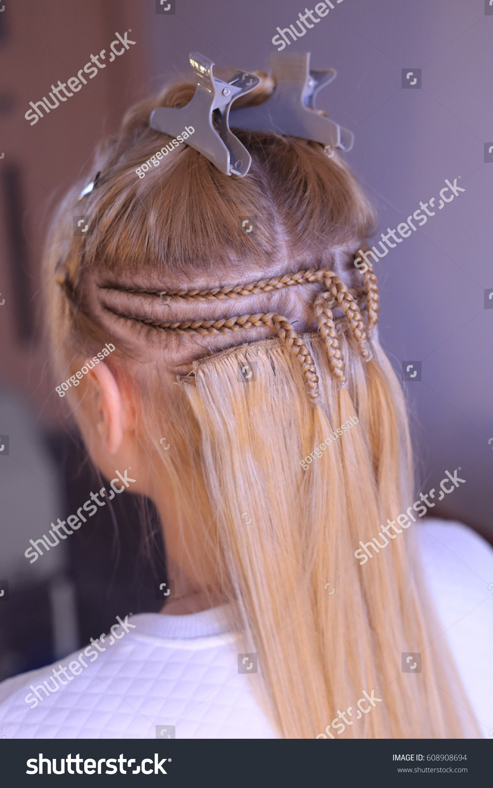 Hair Sewn On Pigtail Hair Extensions Stock Photo Royalty Free