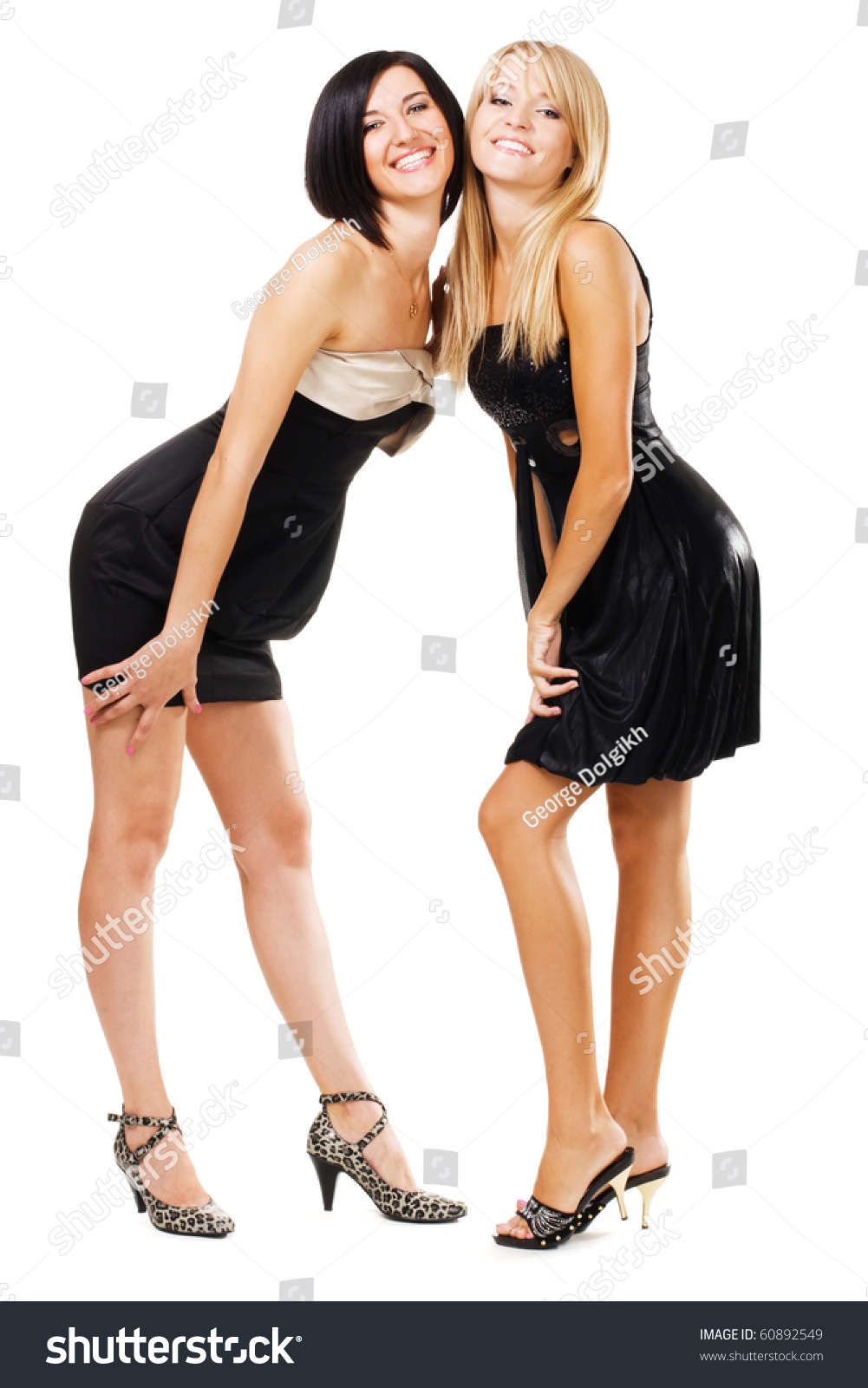 Two Pretty Women Black Gowns Isolated Stock Photo (Edit Now ...