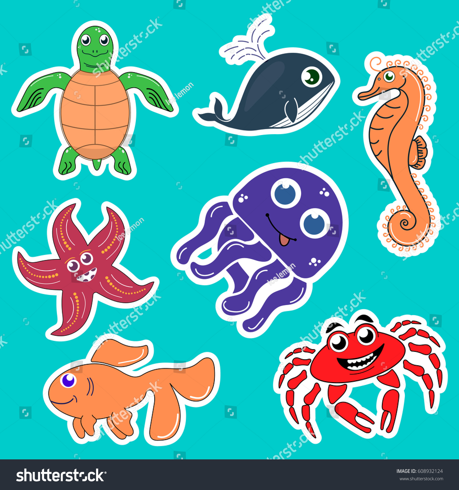 Stickers sea creatures turtle starfish whale goldfish crab octopus seahorse