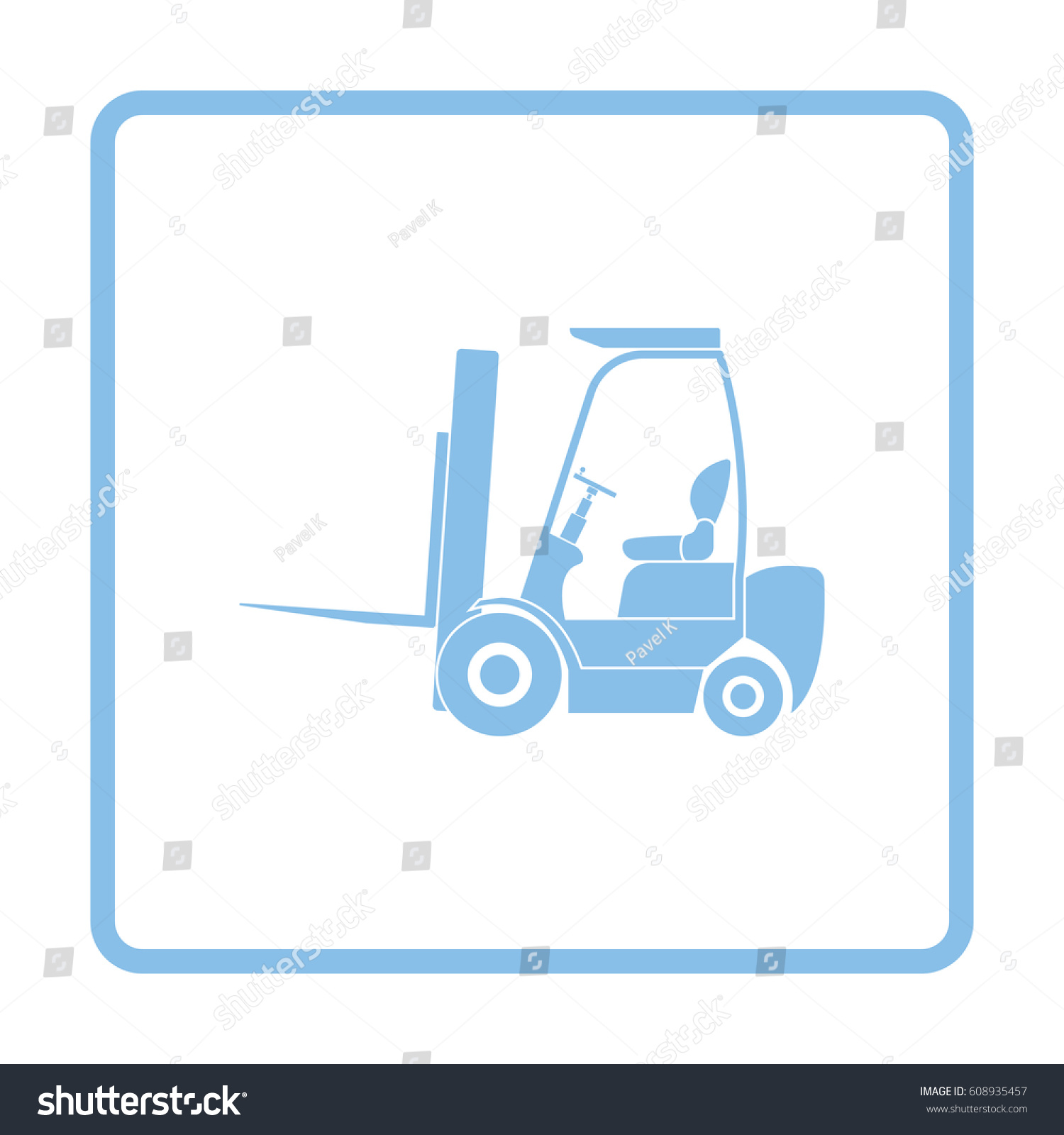 Warehouse Forklift Icon Blue Frame Design Stock Vector (2018 ...