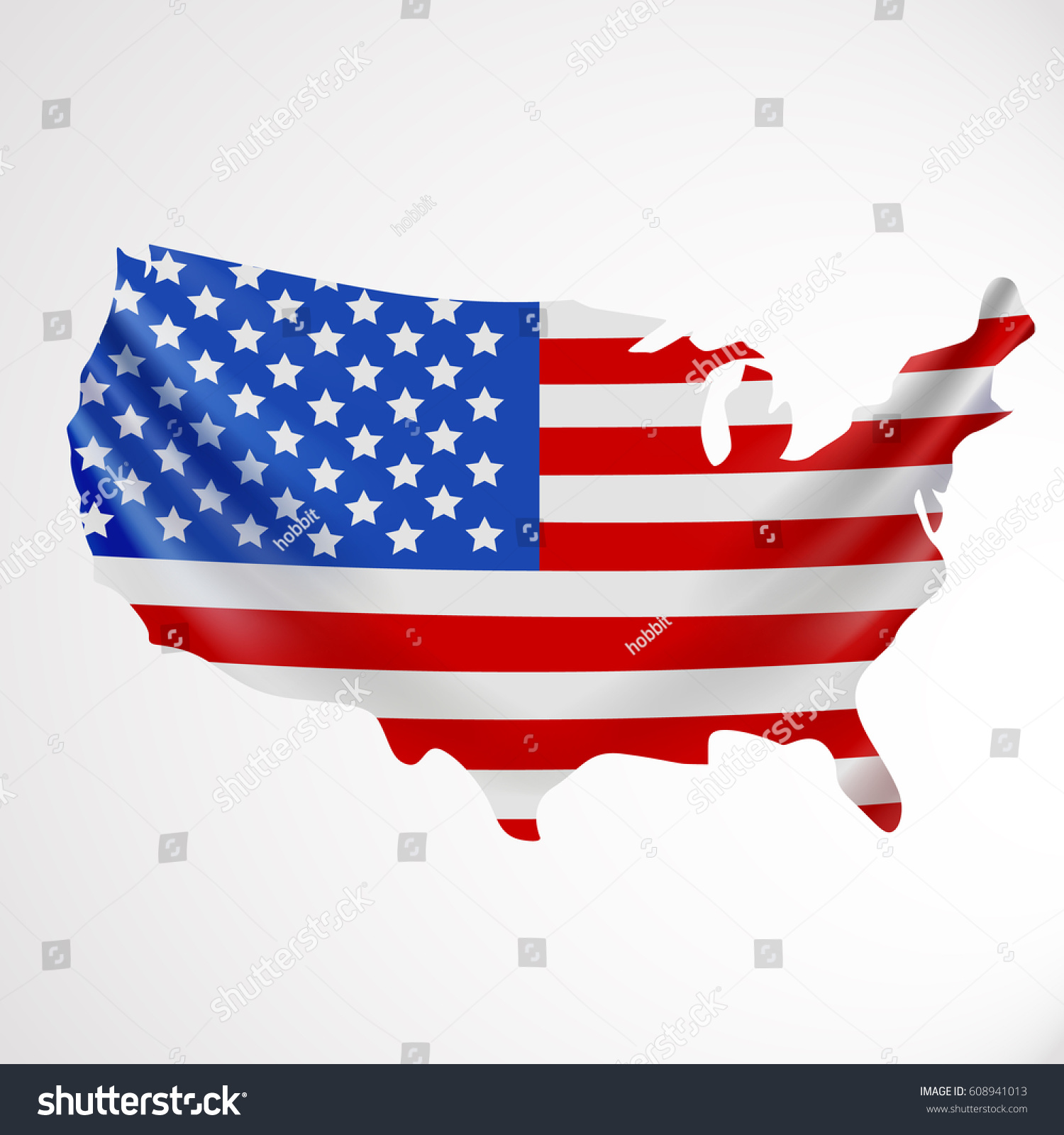 Usa Flag Form Map United States Stock Vector 608941013 - Shutterstock
