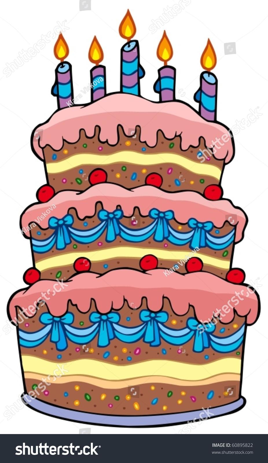 Big Cartoon Cake Candles Vector Illustration Stock