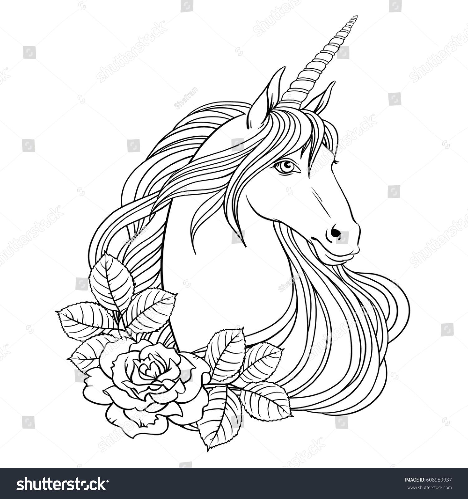 Unicorn Roses Hand Drawn Vector Linen Stock Vector ...