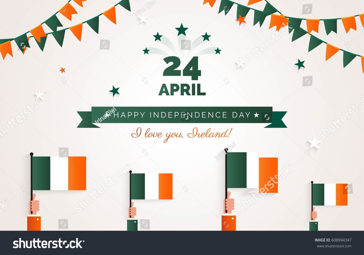 24 April Ireland Independence Day Greeting Stock Vector Royalty
