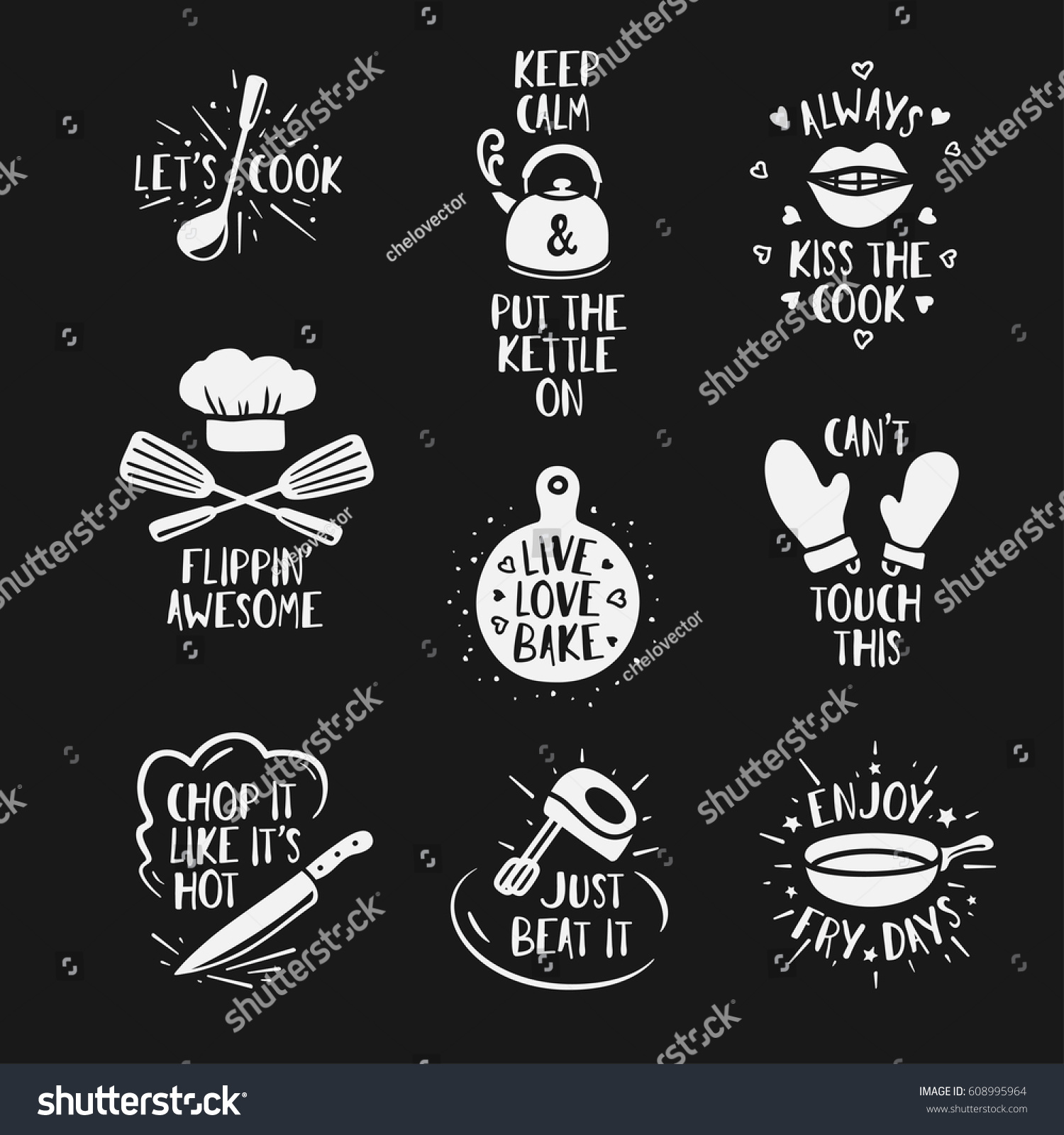 Kitchen Wall Clip Art: Hand Drawn Kitchen Quotes Set Phrases Stock Vector