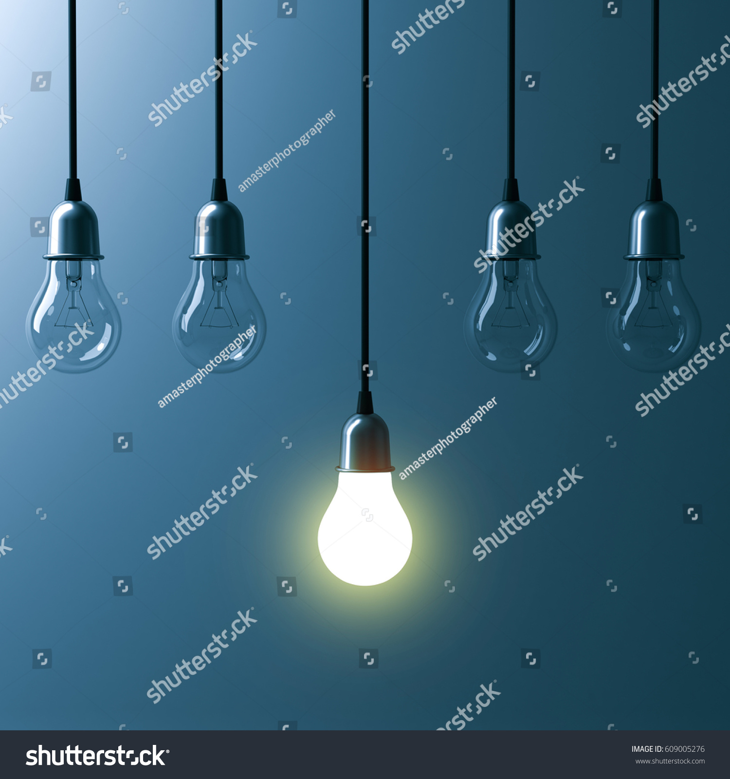 e Hanging Light Bulb Glowing Different Stock Illustration