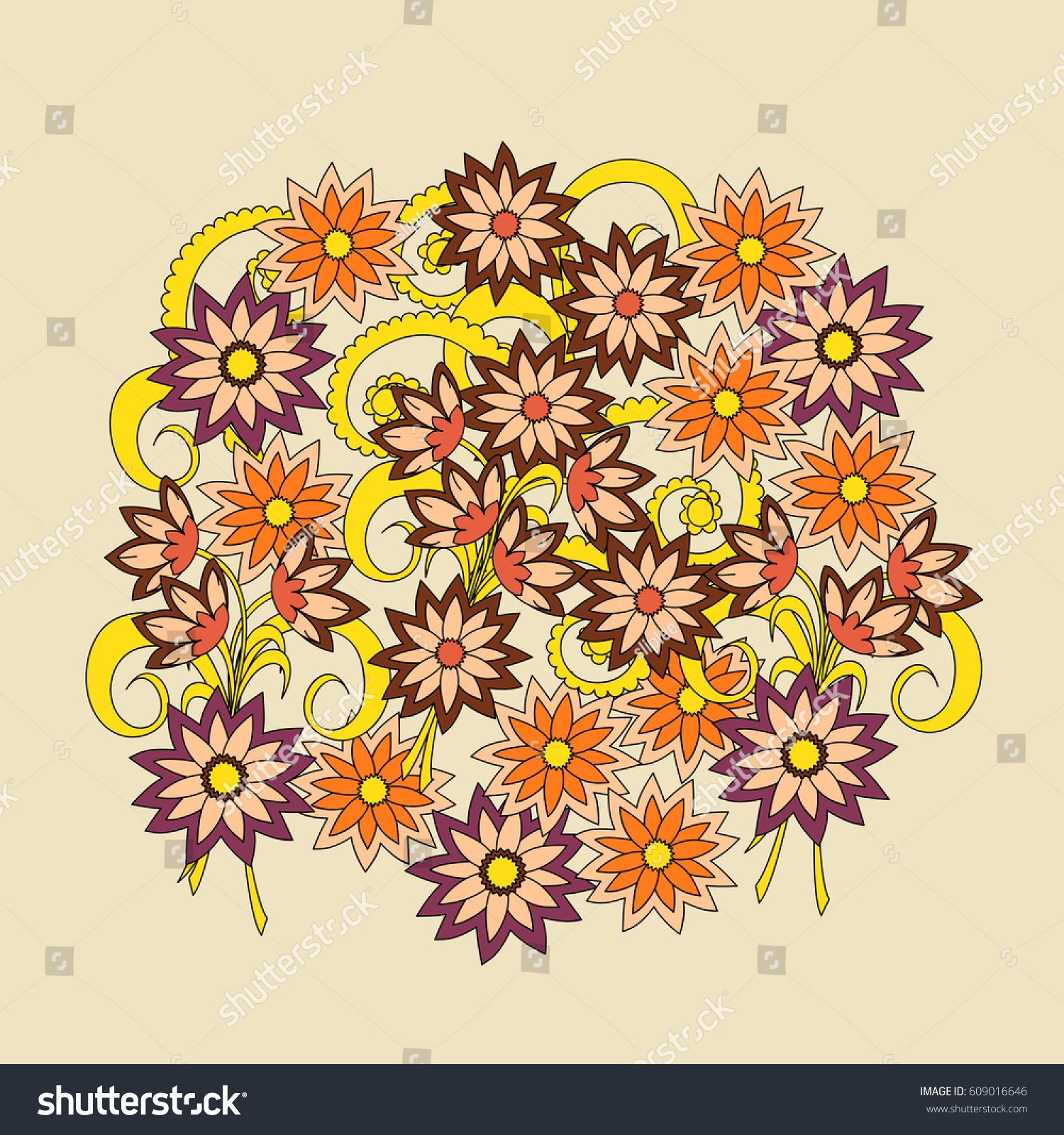 Hand Drawn Doodle Floral Composition Boho Stock Vector 609016646 ...