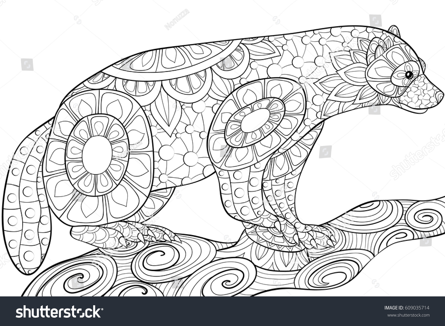 Adult Coloring Bookpages AnimalZen Art Style