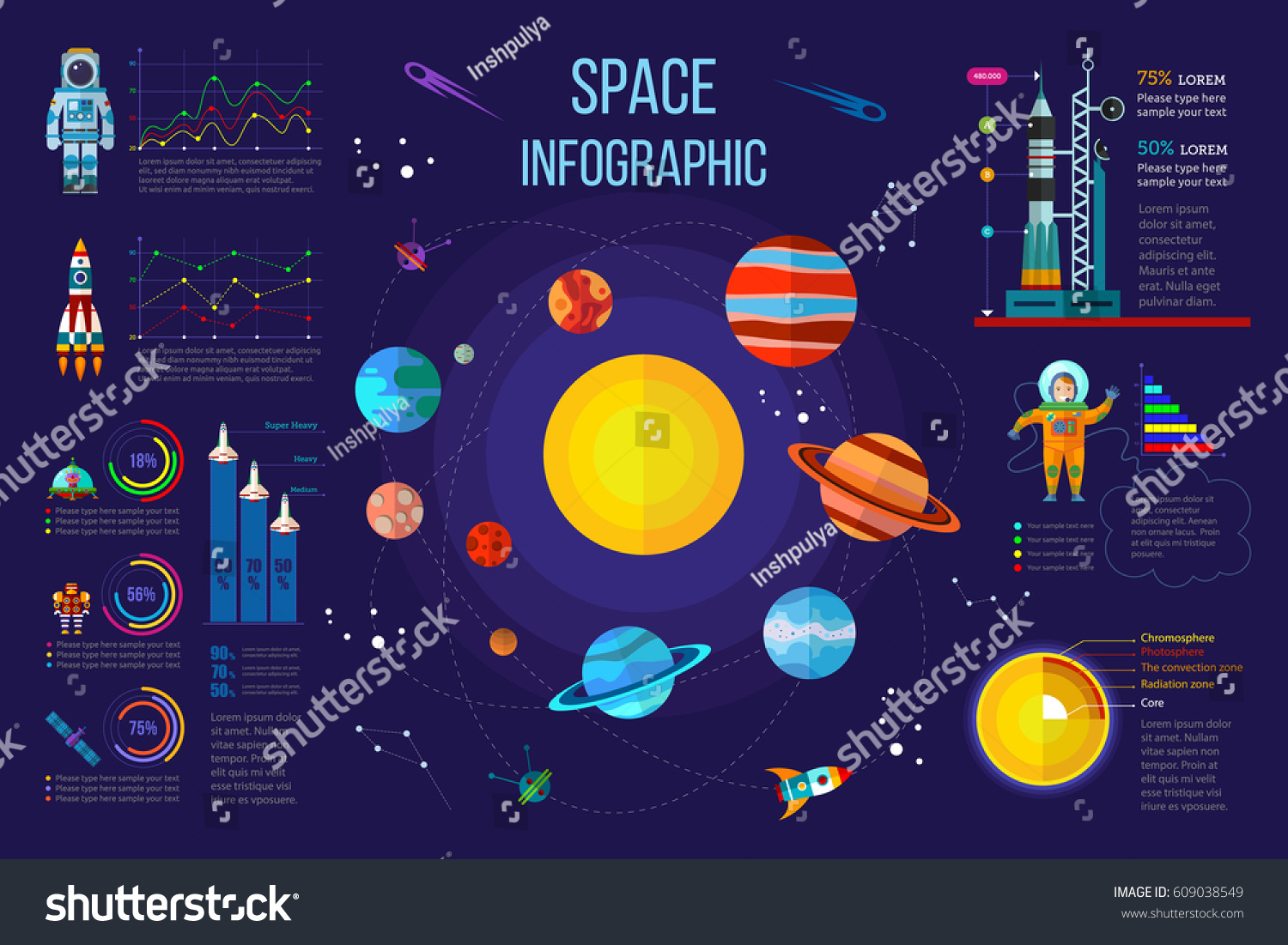 Solar system infographics different statistical elements for Outer space elements