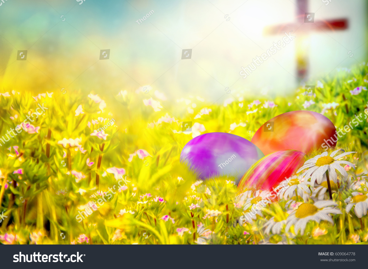 Easter Background With Colorful Painted Eggs In The Grass Spring Flowers And A