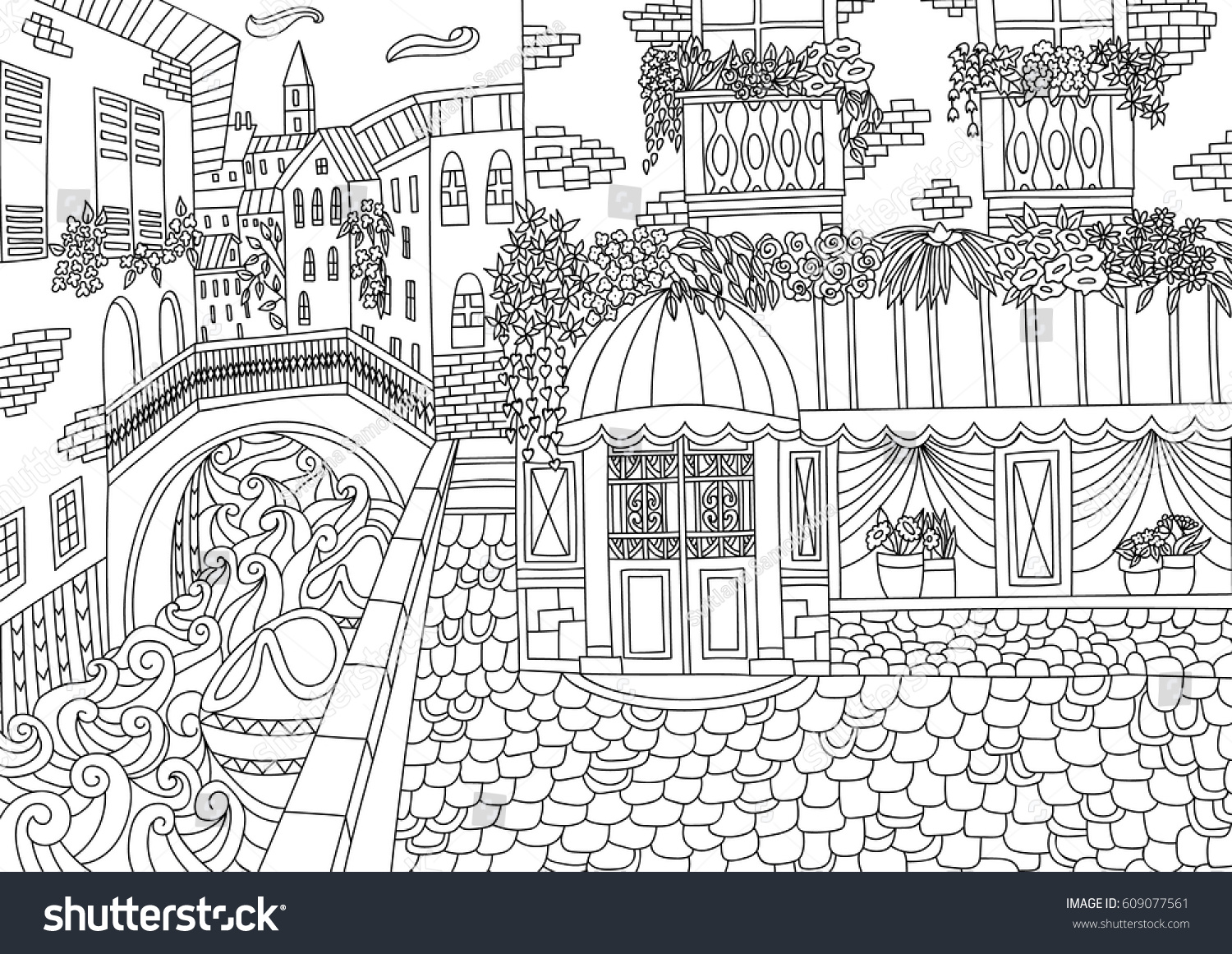 Coloring For Adult With Venice Italy Page In Line Style European Landscapes