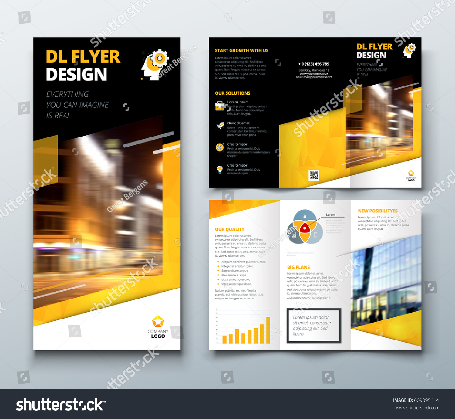 Tri fold brochure design black yellow stock vector for Dl brochure template