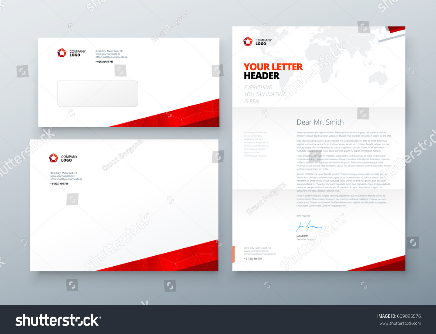 Envelope Dl C 5 Letterhead Red Corporate Stock Vector Royalty Free